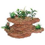 AQ Platform Rock wth Plants 21.5x14.5x14cm AQ28125