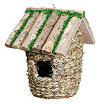 GD Bird house Large Wood & Raffia Box NB1607