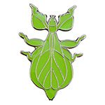 Blue Bug Pin Badge, Walking Leaf